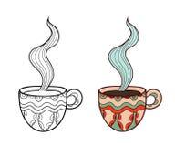 Комплект 2 кофейных чашек doodle вектора, план и Стоковое Изображение
