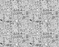 Безшовный doodle назад к картине школы Стоковое Изображение RF