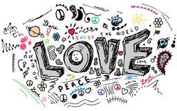 Эскиз doodle влюбленности, комплект вектора Стоковая Фотография RF