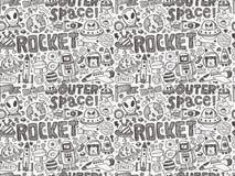 Безшовная картина космоса doodle иллюстрация вектора