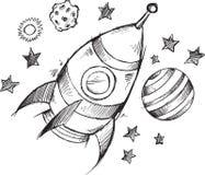 Διαστημικό διάνυσμα σκίτσων Doodle πυραύλων Στοκ Φωτογραφία