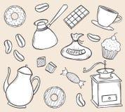 Комплект времени кофе Doodle Стоковая Фотография