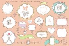 Doodle покрасил ярлыки, значки, рамку, элемент оформления Комплект влюбленности Стоковое Фото