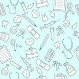 Картина Doodle медицинская безшовная Комплект значков медицины Стоковое Изображение RF