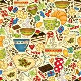 Чай и кофе doodle безшовная картина Стоковое Изображение RF