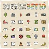 30 красочных значков Doodle установили 10 Стоковая Фотография RF