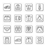 Значки Doodle одежды и аксессуаров Стоковая Фотография