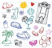 Το καλοκαίρι doodle έθεσε, Στοκ φωτογραφία με δικαίωμα ελεύθερης χρήσης