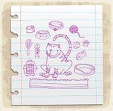 Значки кота doodle комплект на бумажном примечании, иллюстрации вектора Стоковое Фото