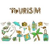 Το χέρι που σύρθηκε doodle έθεσε με το εικονίδιο καλοκαιρινών διακοπών Διανυσματικό υπόβαθρο τουρισμού Έμβλημα ή αφίσα, πρότυπο τ Στοκ Εικόνα