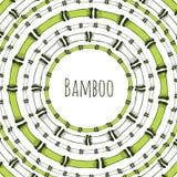 Зеленая бамбуковая рамка круга Ярлык Doodle для натуральных продучтов Предпосылка вектора Стоковое Изображение RF