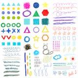 комплект смешных форм doodle Рук-чертежа ребяческий Стоковые Фотографии RF