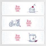 Комплект 3 романтичных знамен doodle Стоковое Изображение RF