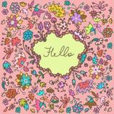 Предпосылка рамки милого doodle вектора флористическая Стоковое Фото