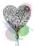 Сердце Doodle флористическое Стоковое Изображение RF