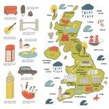 Милой нарисованная рукой карта doodle Англии Стоковые Фотографии RF