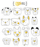 Комплект doodle 16 милого собак Собака эскиза Стоковое Изображение RF
