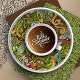 Doodle лагеря чашки кофе вектора Стоковое Изображение