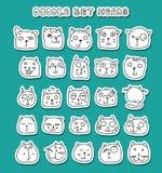 комплект doodle котов милый животные смешные изолированный кот Стоковая Фотография RF