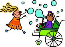 Дети Doodle дуя пузыри Стоковая Фотография