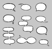 Комплект doodle нарисованных вручную пузырей речи вектора схематичный Стоковое Изображение