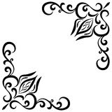 Doodle abstract black handdrawn flower frame. Doodle abstract black handdrawn flower corner frame Stock Photos