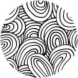 Doodle abstract hand drawn pattern circle shaped Stock Image