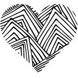 Doodle abstract hand drawn pattern heart shaped Stock Photos
