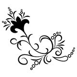 Doodle abstract handdrawn flower ornament. Doodle abstract black handdrawn flower ornament Stock Photos