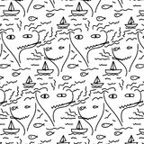 Doodle Abstract Pattern With Line Hand Drawn Face, Fish, Boat, Sea, And Smoke. Vector Illustration Royalty Free Stock Photography