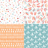 Doodle abstract patterns. Set of 4 doodle abstract seamless patterns Stock Images