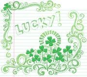 Doodle afortunado del trébol de cuatro hojas del día del St Patricks Fotografía de archivo