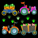 Doodle  agricultural tractors on a black background. Royalty Free Stock Photo