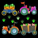 Doodle agricultural tractors on a black background. Vector Set stock illustration