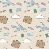 Doodle airplane travel pattern royalty free illustration