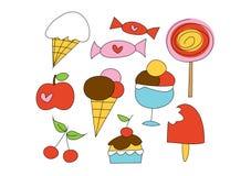 Doodle ajustado: Coisas doces Imagens de Stock Royalty Free