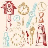 Doodle ajustado - tempo Imagem de Stock Royalty Free