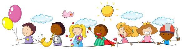 Doodle aktywność i dzieciaki royalty ilustracja