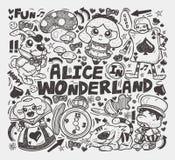 Doodle Alice w kraina cudów elemencie Fotografia Stock