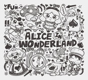 Doodle alice in wonderland element Stock Photography