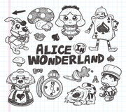 Doodle alice in wonderland element Stock Image