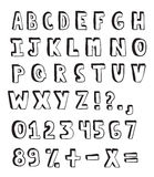 Doodle alphabet. Hand drawn alphabet and numbers on white background Royalty Free Stock Image