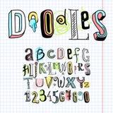 Doodle alphabet font notebook. Sketch hand drawn doodle alphabet letters on squared notebook page vector illustration stock illustration