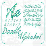 Doodle alphabet and numbers with floral pattern. Royalty Free Stock Photography