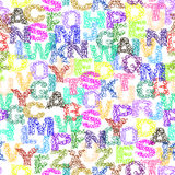 Doodle alphabet pattern. Doodle alphabet seamless pattern on white background. EPS 10 Stock Images