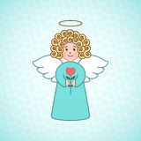 Doodle angel with a heart Royalty Free Stock Photo