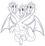 Doodle animal character for dragon with three heads Stock Image