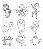 Doodle Animal Dance Icons Royalty Free Stock Images