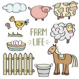 Doodle animal farm set. Vector eps 10 Royalty Free Stock Images