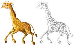 Doodle animal for giraffe running Stock Image